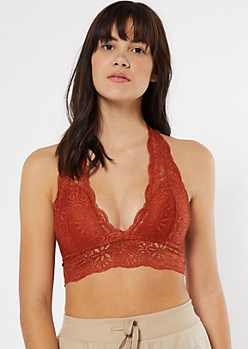 Burnt Orange Lace Strappy Racerback Halter Bralette