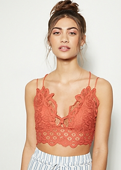 Orange Crochet Lace Bralette