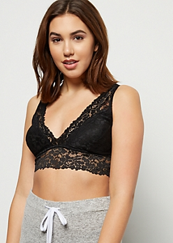 Black V Neck Floral Lace Bralette