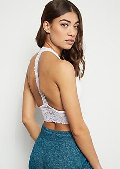White T Back Lace Bralette