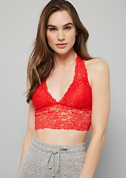 Red T Back Lace Bralette
