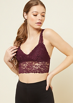 Dark Purple Scoop Neck Floral Lace Bralette