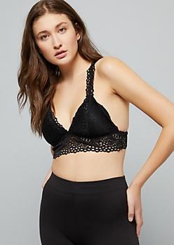 Black Floral Lace V Neck Bralette