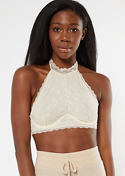 Sand Lace High Neck Halter Bralette