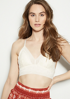Ivory Lace Mesh Triangle Racerback Bralette