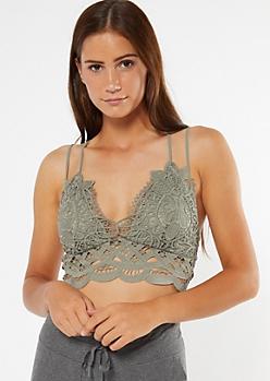 Olive Crocheted Longline Bralette