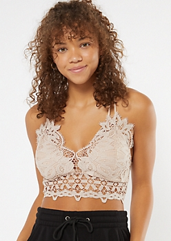 Taupe Crochet X Back Bralette