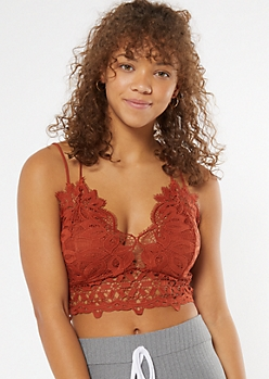 Burnt Orange Crochet X Back Bralette