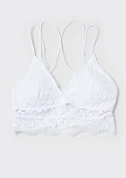 White Eyelash Lace Longline Smocked Bralette
