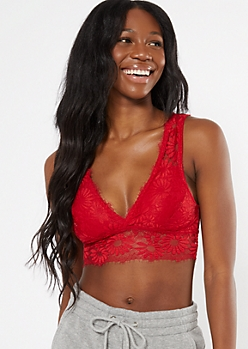 Red Floral Eyelash Lace Bralette