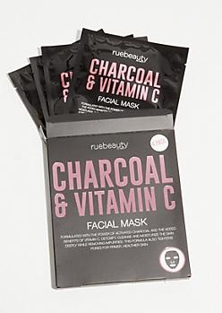 4-Pack Charcoal and Vitamin C Face Masks Set