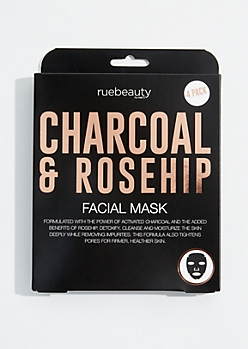 4-Pack Charcoal and Rosehip Face Mask Set
