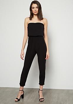 Black Super Soft Strapless Ruched Jumpsuit
