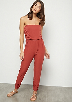 Red Super Soft Strapless Ruched Jumpsuit