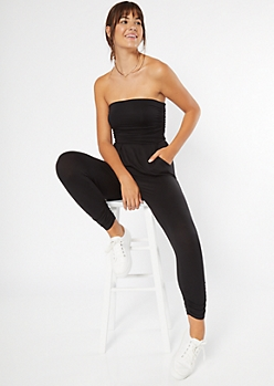 Black Ruched Strapless Jumpsuit