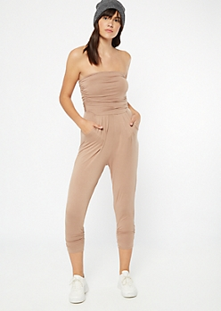 Taupe Ruched Strapless Jumpsuit