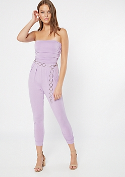 Lavender Ruched Strapless Jumpsuit