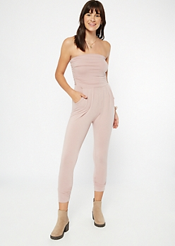 Pale Pink Ruched Strapless Jumpsuit