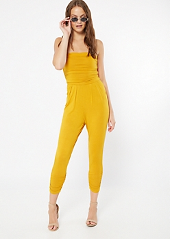 Gold Ruched Strapless Jumpsuit