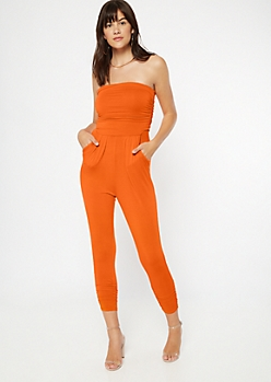 Orange Ruched Strapless Jumpsuit