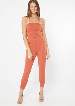 Coral Orange Ruched Strapless Jumpsuit