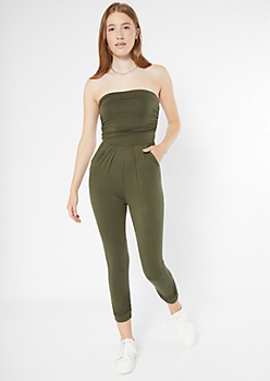 Olive Ruched Strapless Jumpsuit