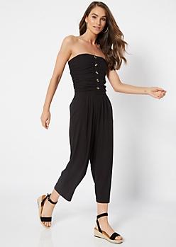 Black Ruched Strapless Super Soft Jumpsuit
