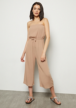 Taupe Cropped Gaucho Tube Top Jumpsuit