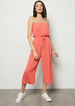 Coral Cropped Gaucho Tube Top Jumpsuit