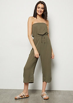 Olive Cropped Gaucho Tube Top Jumpsuit