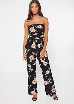 Black Floral Print Super Soft Jumpsuit