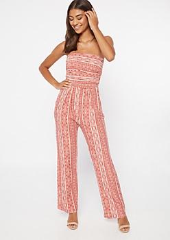 Pink Border Print Super Soft Jumpsuit