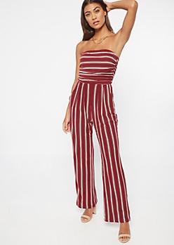 Burgundy Striped Super Soft Jumpsuit