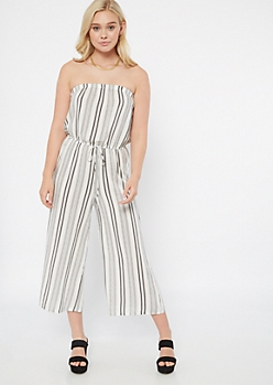 White Striped Strapless Cropped Jumpsuit