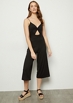 Black Super Soft Knot Front Jumpsuit