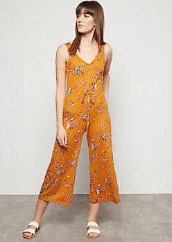 ea180316b67 Mustard Floral Print Button Down Wide Leg Jumpsuit