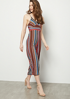 06432a1ea6 Burnt Orange Striped Super Soft Wide Leg Jumpsuit