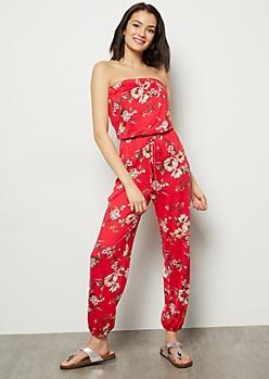 Fuchsia Floral Print Super Soft Tube Top Jumpsuit