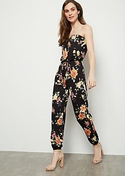 Black Floral Print Super Soft Tube Top Jumpsuit