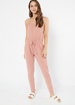 Pink Sleeveless Skinny Leg Jumpsuit