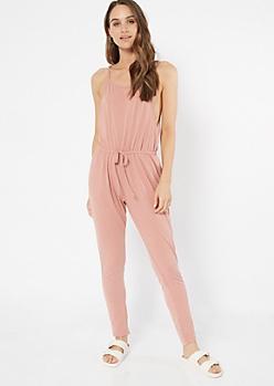 Pink Sleeveless Skinny Leg Jumpsuit