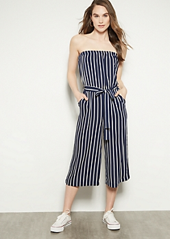 bb30f0d4274 Navy Striped Strapless Gaucho Jumpsuit