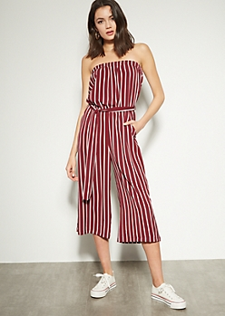 Burgundy Striped Strapless Gaucho Jumpsuit