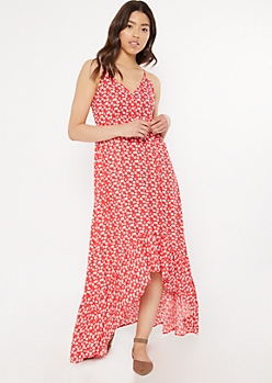 Red Floral Print High Low Ruffle Hem Dress