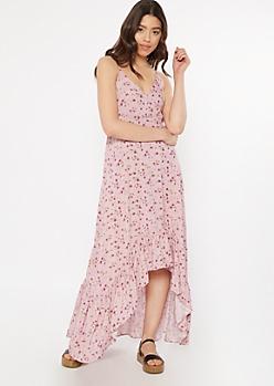 Mauve Floral Print High Low Ruffle Hem Dress