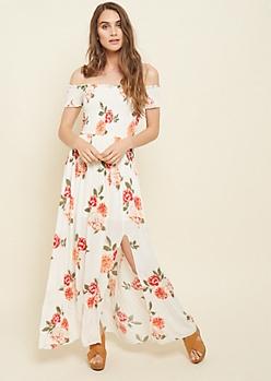 Ivory Floral Print Smocked Maxi Dress