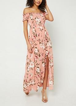 Pink Floral Print Smocked Maxi Dress