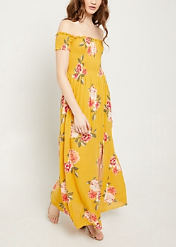 Mustard Floral Print Smocked Maxi Dress