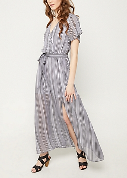 Black Stripe Pattern Chiffon Maxi Dress