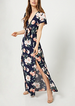 Navy Floral Print Knotted Maxi Dress